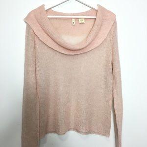 MOTH Blush Mohair Lightweight Pink Cowl Sweater L